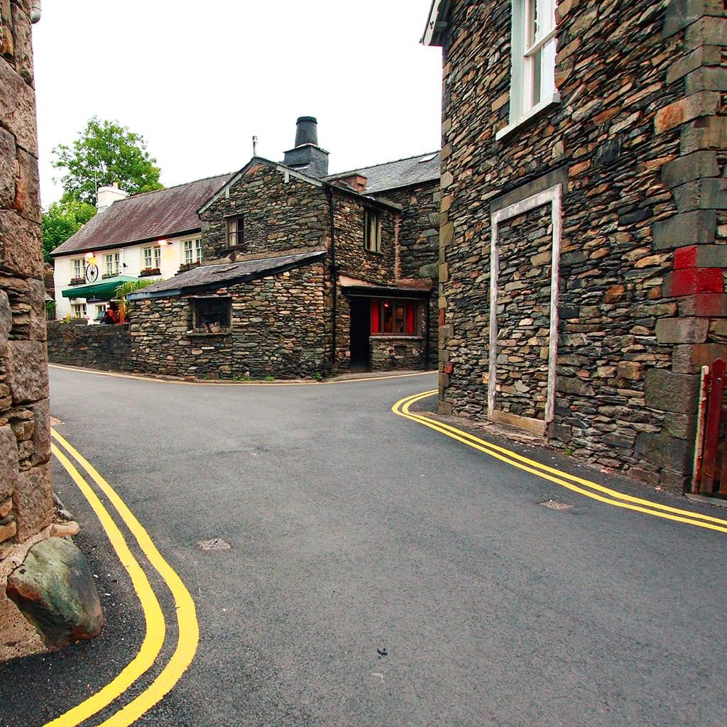 Stone houses on a quaint street